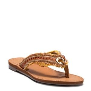 Boho Beaded Grommet Slip On Sandals